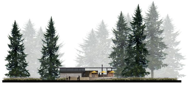 Behind the patio umbrellas dotting the west elevation, a suspended steel fireplace creates an inviting environment.
