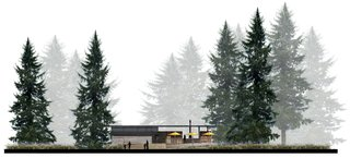 AutoCamp's Modern Clubhouse Emerges from the Russian River Redwoods - Photo 5 of 6 - Behind the patio umbrellas dotting the west elevation, a suspended steel fireplace creates an inviting environment.