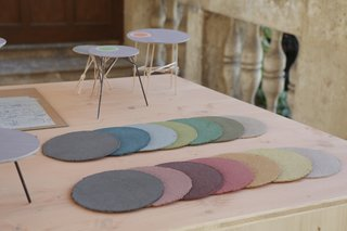 This Kinetic Installation Is a Meditation on Time - Photo 2 of 4 - Representing the layered history of Schloss Hollenegg, each slab is made out of pigments, glue, sawdust, and paper.