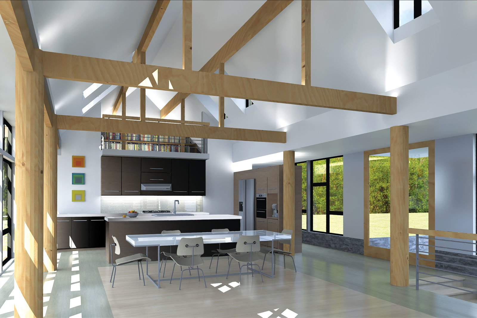 A rendering illustrates the loft, which the homeowners plan to use as a reading room, overlooking the living area. Keeping things contemporary, they have chosen white countertops, black cabinetry, and stainless steel appliances for the kitchen.  The wooden supports have been swapped out for black steel poles.