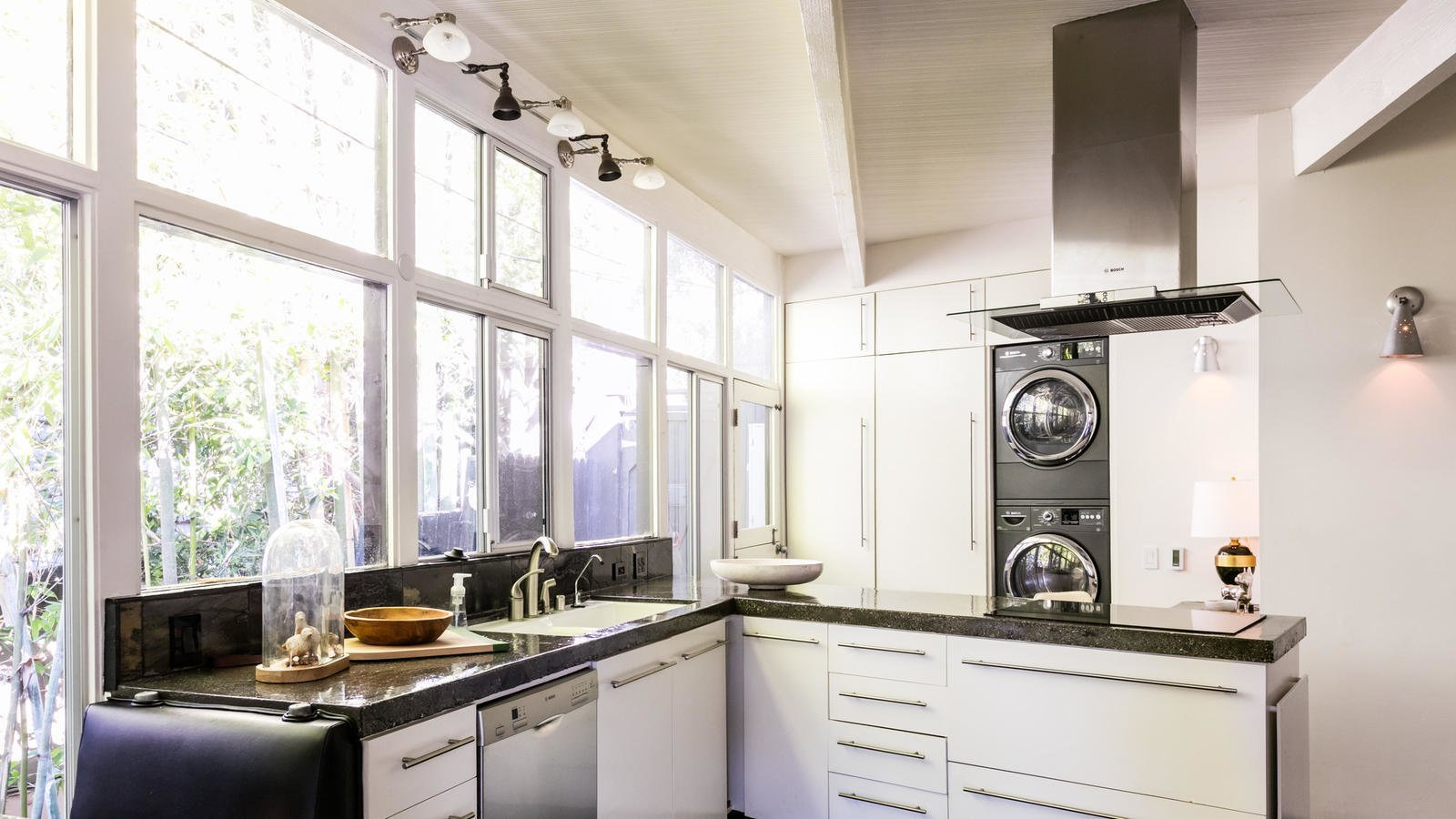 Modern appliances find a home in an airy kitchen.  Photo 4 of 10 in Own a Piece of Hollywood History for $1.995M