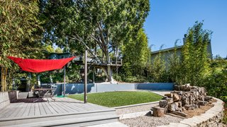 Own a Piece of Hollywood History for $1.995M - Photo 8 of 9 - The backyard features a treehouse, wrapped around a robust ficus tree, and a rope swing over a grassy lawn.
