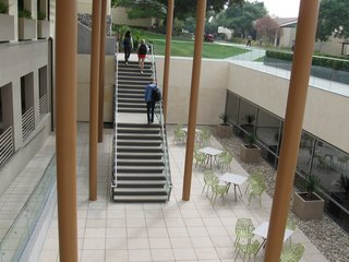 Concrete closed riser Steptreads at Claremont McKenna College are durable and easy to maintain. In addition to being welded to steel channels, stair treads can be attached to a wood stringer.