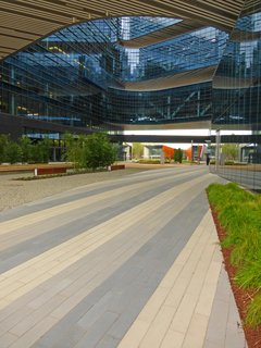 Samsung's headquarters in San Jose, California are paved with Large Scale CalArc Pavers in Stepstone's French Gray, Porcelain, and Granada White.