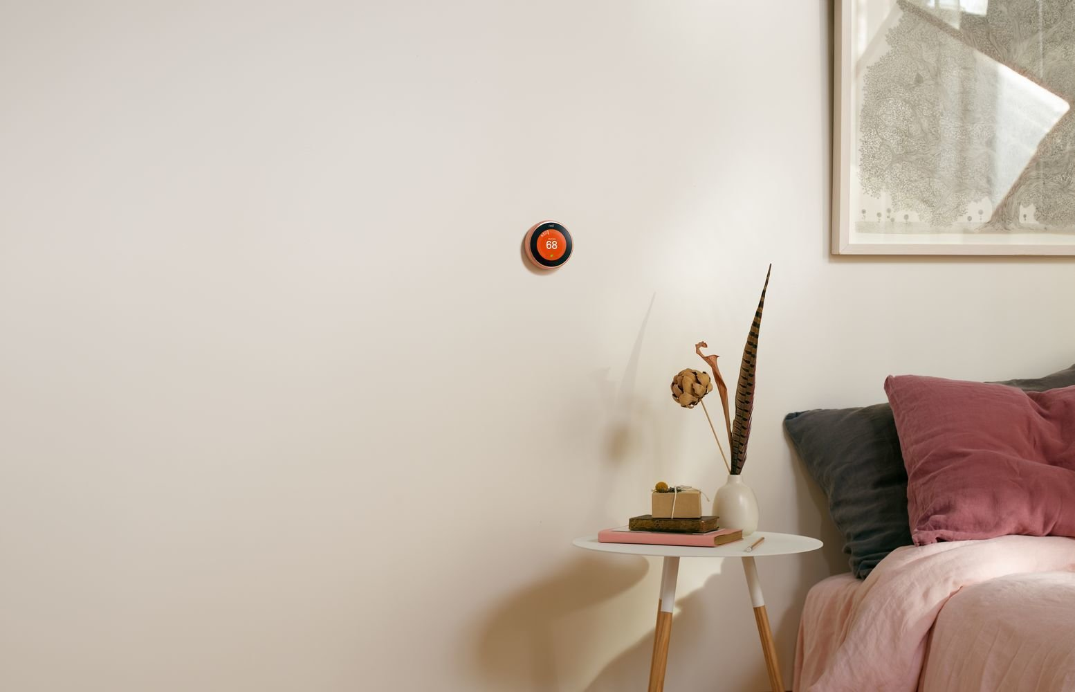 Nest Learning Thermostats now come in more color options to fit into a larger range of design schemes. The white edition pairs well with Nest Cam Outdoor and complements clean, minimalist spaces; the black option boasts diamond-like carbon coating that resists scratches and repels oil. Finally, the copper version, pictured above, brings warmth to a space.  Photo 5 of 5 in Keep an Eye Out With the New Nest Cam