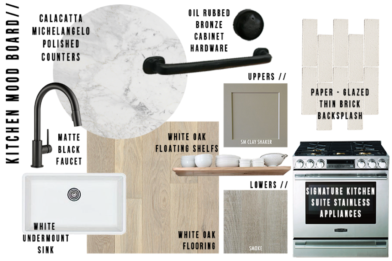 """The kitchen mood board features a unified palette of warm beige, gray, and white; the matte black faucet topping the sink and oil-rubbed bronze cabinet hardware provide a stark contrast. Against this backdrop, stainless steel appliances by Signature Kitchen Suite offer a material and chromatic departure. """"Tell me that's not the swankiest range you've ever laid your eyes on!"""" writes Lewis."""
