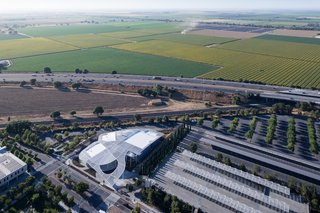 A Game-Changing Museum Becomes a New Symbol of UC Davis - Photo 7 of 7 - From an aerial view, the Grand Canopy mimics the texture of surrounding fields.