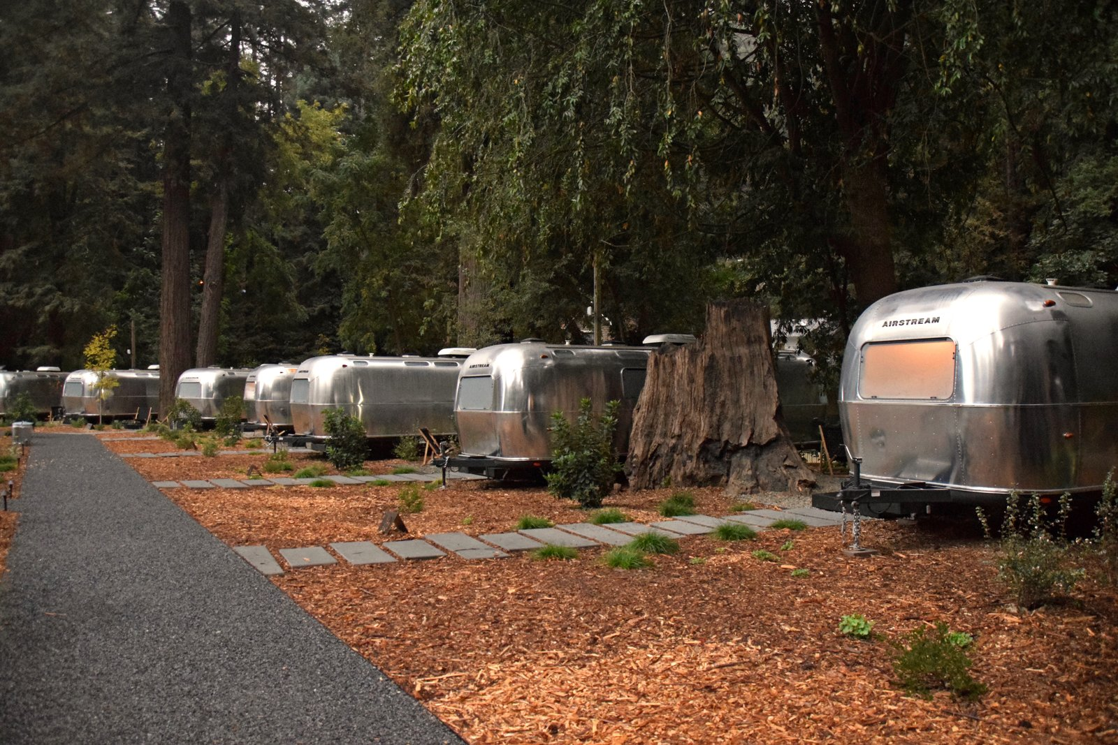Dan Weber Architecture collaborated with Airstream USA to create the custom trailers at AutoCamp. The clear, non-tinted windows lend vintage charm and  illuminate the grounds as evening sets in. Tagged: Outdoor, Woodland, Walkways, Trees, and Shrubs.  Photo 2 of 11 in At AutoCamp, Sleep in a Slice of Americana for $225 a Night