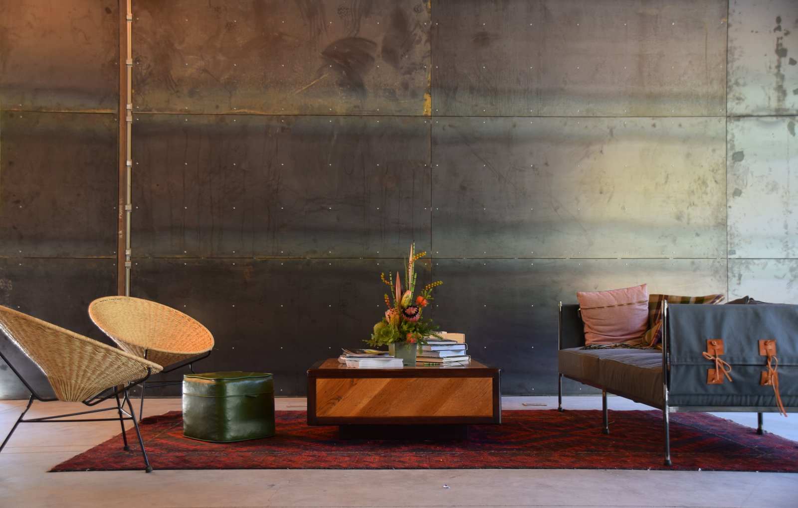 Geremia Design created a texturally rich lounge area, its wood, leather, and textile elements softening the steel backdrop.  Photo 4 of 11 in At AutoCamp, Sleep in a Slice of Americana for $225 a Night