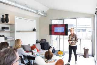 Monogram Modern Home Shows Some Southern Hospitality - Photo 3 of 8 - Sheri Gold hosts a CEU, whose topics covered cooking technologies, social media marketing, kitchen design, and findings from the Dwell Insights Group.
