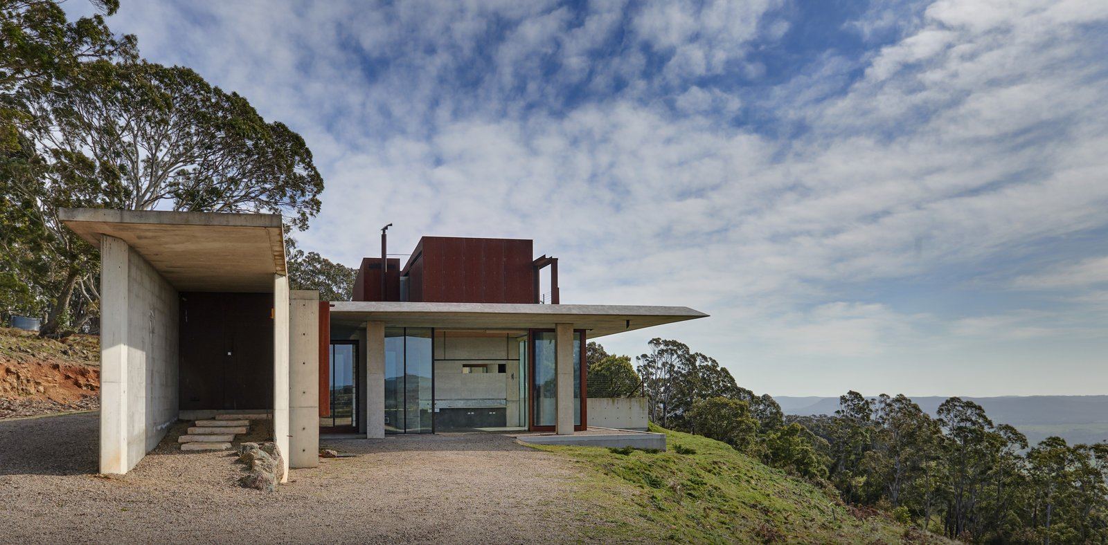 An entrance gallery along the residence's western elevation leads residents into a flowing open floor plan. Living spaces stretch towards views of Megalong Valley to the east.  Photo 2 of 14 in An Internationally Celebrated Home in the Australian Backcountry Asks $9M