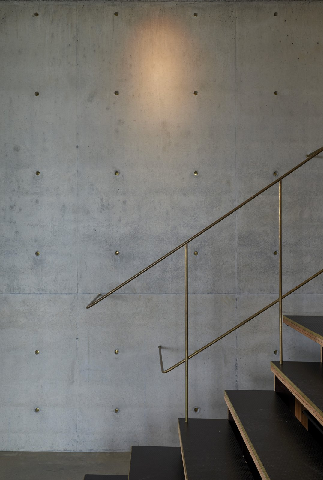 Throughout the 4,607-square-foot residence, the materials used in the built environment speak to the natural environment. Here, raw brass railings and inserts in the concrete wall plugs give off a star-like glimmer in the gallery, which originally showcased the homeowner's art collection.  Photo 4 of 14 in An Internationally Celebrated Home in the Australian Backcountry Asks $9M