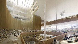 Schmidt Hammer Lassen Architects' Winning Design For the Shanghai Library - Photo 3 of 7 - Three staggered reading rooms form a grand central atrium, creating intersecting spaces that encourage visitors to explore in a balance between inward and outward focus.