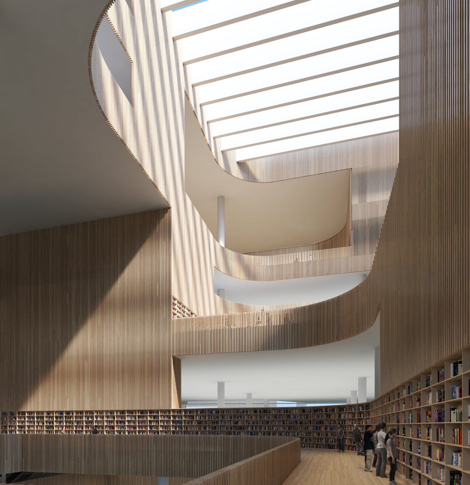 The wooden slats that line the central atrium are of varying transparency: