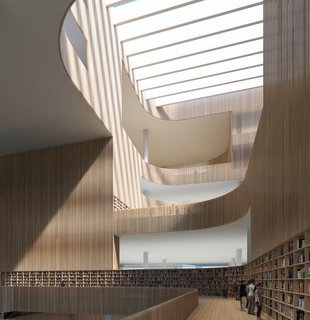"Schmidt Hammer Lassen Architects' Winning Design For the Shanghai Library - Photo 4 of 7 - The wooden slats that line the central atrium are of varying transparency: ""Some are open, some are semi-open, and some of solid with acoustic insulation in between,"" says Hardie."