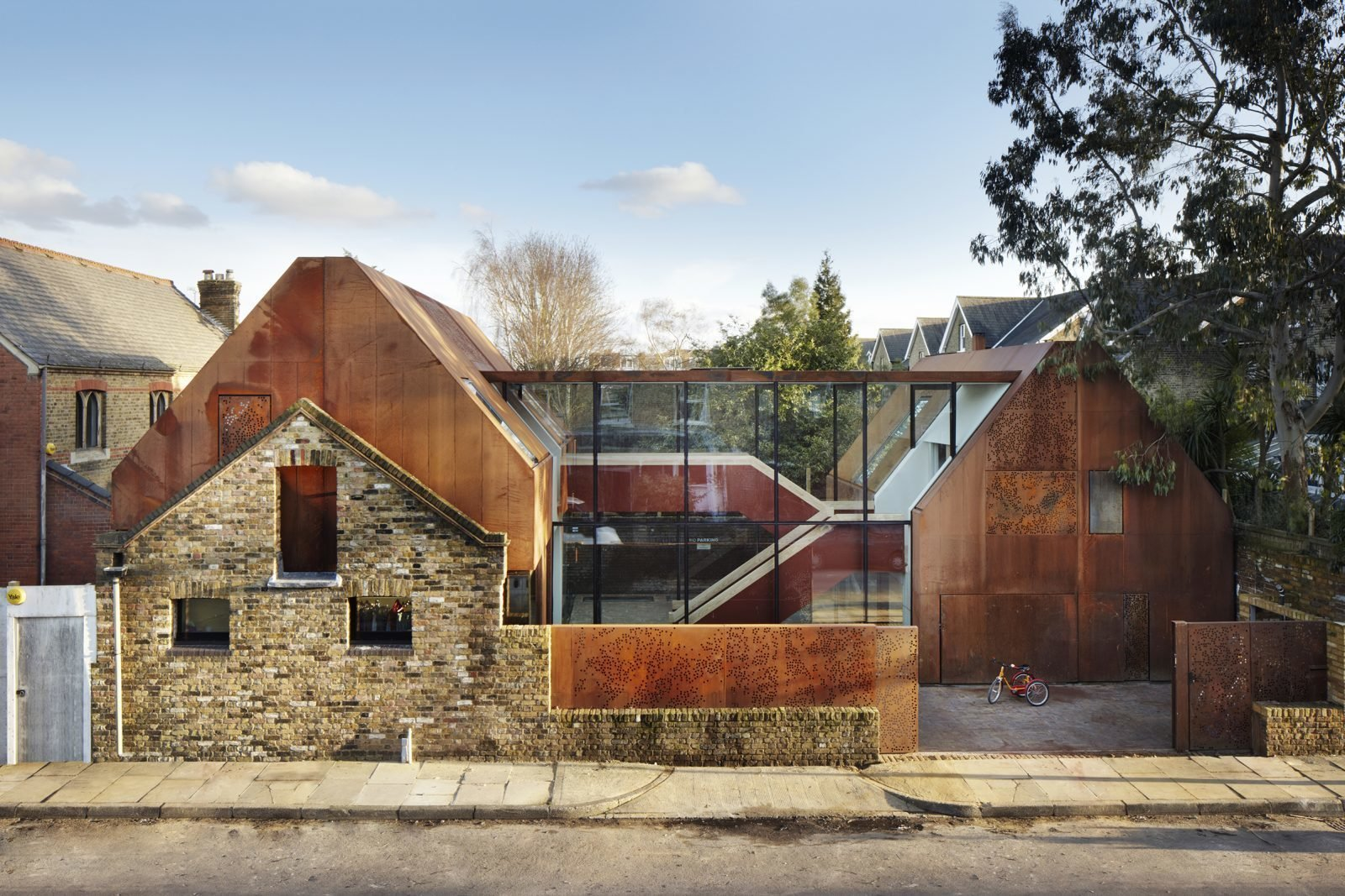 Photo 1 of 11 in Weathered Steel Clads a $4.7M Home Near London's Kew Gardens
