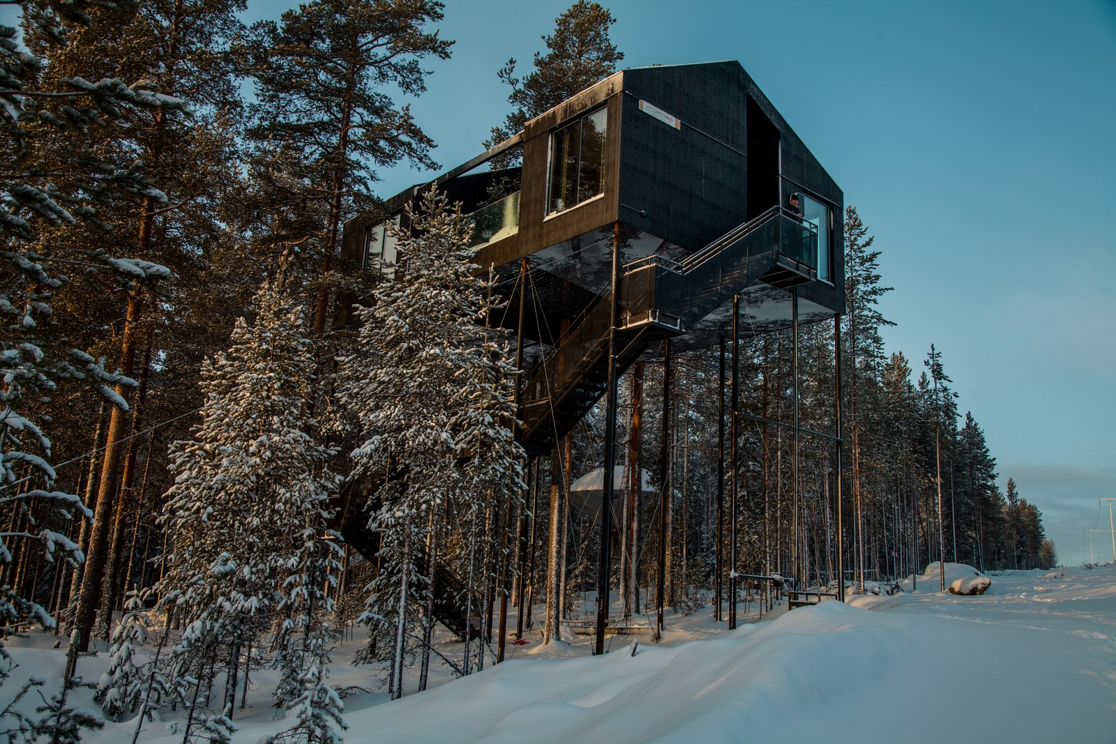 As guests approach the cabin from a distance, their view of the structure becomes gradually obscured until the only façade visible is that of the bottom, which bears a print of a pine tree canopy.