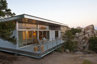 Offered at $674K, This Hybrid Prefab Is in Tune With the Californian Desert - Photo 7 of 7 - Manufactured with up to 70 percent recycled steel, the hybrid prefab home limits construction waste to the factory, where it's recycled. The efficiency and lightness of the resulting build is another environmental advantage.