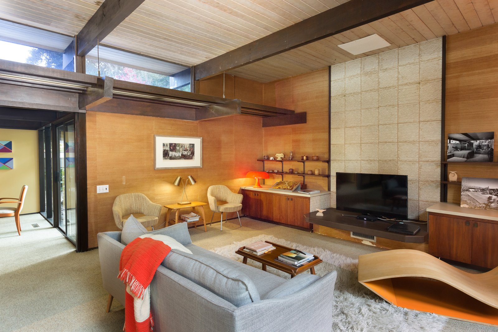 Clerestory windows allow more light to stream into the den.  Photo 5 of 11 in Snag This Midcentury Stunner in Southern California For $799K
