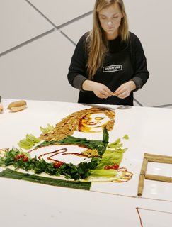 Signature Kitchen Suite's Modern Pavilion Shines at KBIS - Photo 6 of 7 - Artist Jessie Bearden's creations transformed this countertop into an evolving edible art display.