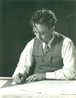 Alden B. Dow: The Mastermind of Midwestern Modernism - Photo 1 of 7 - Alden B. Dow works at his drafting table in 1937, the year he wins the Diplome de Grand Prix for residential architecture at the Paris International Exposition. The fifth of Herbert and Grace Dow's seven children, Alden graduated from Midland High School and studied chemical and mechanical engineering at the University of Michigan before leaving for the Columbia University School of Architecture. In 1933, he spent a summer as a Taliesin Fellow under the tutelage of Frank Lloyd Wright, with whom he struck up a lifelong friendship.