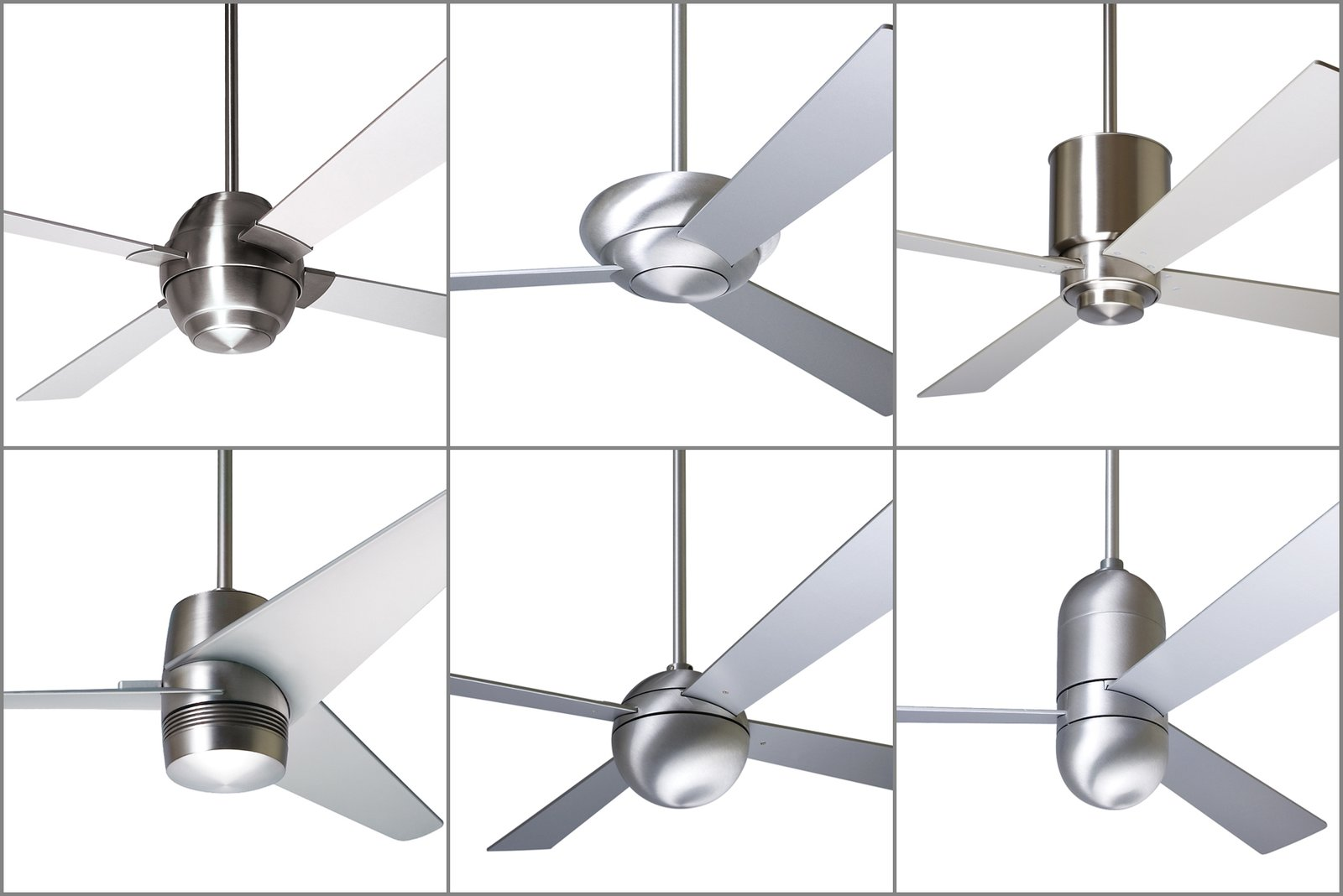 Some of the Modern Fan Company's most popular and iconic designs include (from left to right, top to bottom) the Gusto, Altus, Lapa, Velo, Ball, and Cirrus fans. The collection demonstrates minimalist design principles that marry geometric forms with contemporary finishes.  Photo 2 of 8 in Taking Flight: A Dose of Brazilian Design Lifts the Ceiling Fan to New Heights