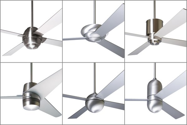 Some of the Modern Fan Company's most popular and iconic designs include (from left to right, top to bottom) the Gusto, Altus, Lapa, Velo, Ball, and Cirrus fans. The collection demonstrates minimalist design principles that marry geometric forms with contemporary finishes.