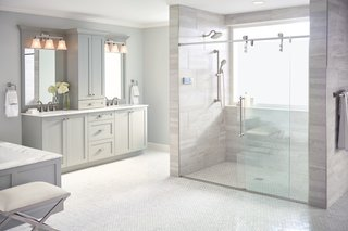 """The color Terra Beige is designed to coordinate with everything and perfectly match nothing,"" says Poloha. ""We wanted something that would become the focal point of the shower."""