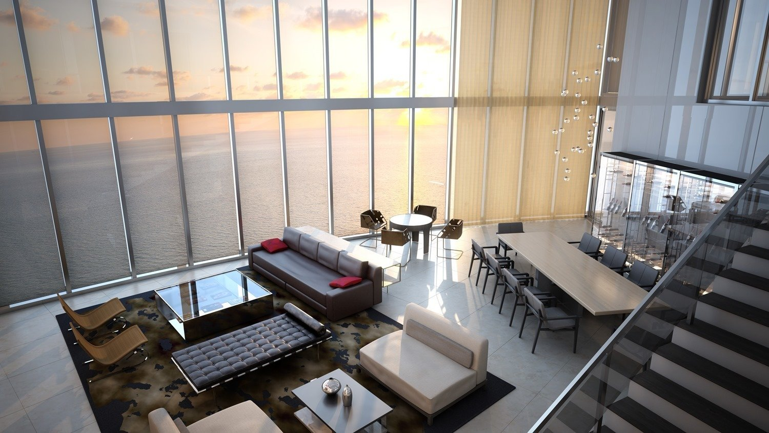 A rendering showcases the possible interior design of the penthouse, which occupies four stories—navigable with a private glass-encased elevator—and has space for 11 cars.  The unit includes over six bedrooms and six-and-a-half baths.  Photo 7 of 11 in Porsche Design's Lavish Residential Tower in Miami Lifts Residents and Cars Sky High