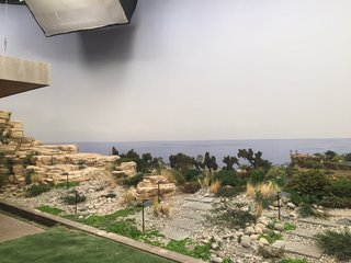"Here's How Hollywood Builds a Malibu Dream Home—on a Vancouver Soundstage - Photo 9 of 10 - Novotny employed an ""old-school theater trick"" to give the impression of depth on the terrace, angling the lawn upward toward the photo backing to trick the eye. He also printed additional trees, glued them to plastic backing, and planted them at the end of the lawn. ""You move your head, and the trees move a bit to give you a sense of perspective,"" he explains."