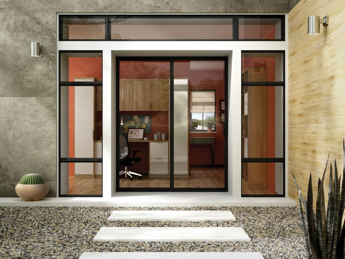 A Dark Bronze Anodized frame emphasizes the sleek lines of a Milgard Aluminum Patio Door, which offers durability and clean aesthetics.