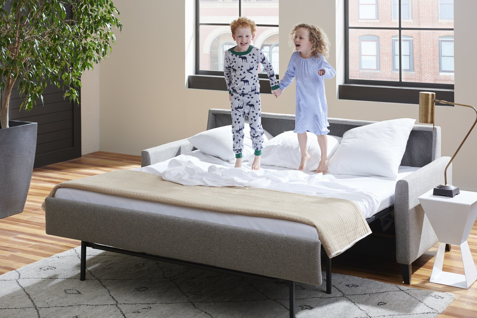 The Comfort Sleeper® is available in 15 different styles and an almost endless number of configurations, including sectionals. Choose from seven mattress sizes ranging from cot to king, three premium mattress options, and hundreds of upholstery selections including leather and performance fabrics by Crypton®, Sunbrella®, and Ultrasude®. The Hannah Comfort Sleeper®, pictured above, boasts a soft, tailored look.  Photo 2 of 7 in American Leather Breaks the Mold of Custom, High-End Furniture
