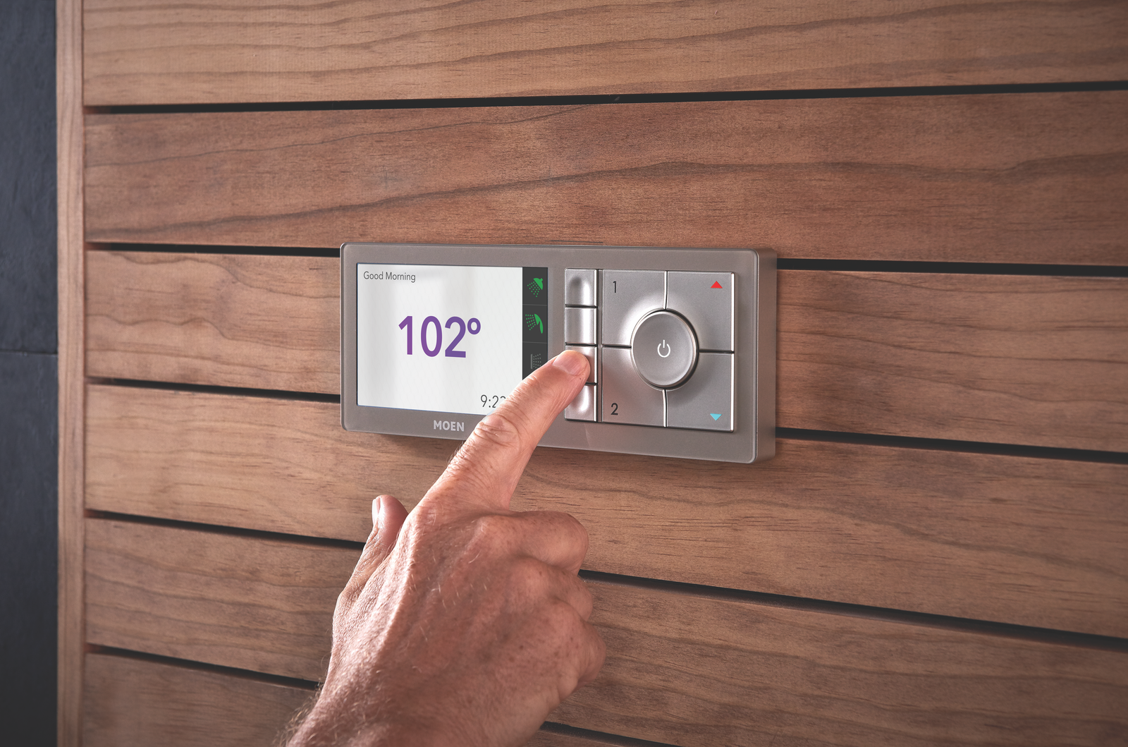Large, intuitive-to-use buttons save your presets on the U by Moen controller, which is designed to blend into a variety of bathroom styles.  Photo 6 of 6 in Turn Your Bathroom Into a Private Sanctuary With These Upgrades