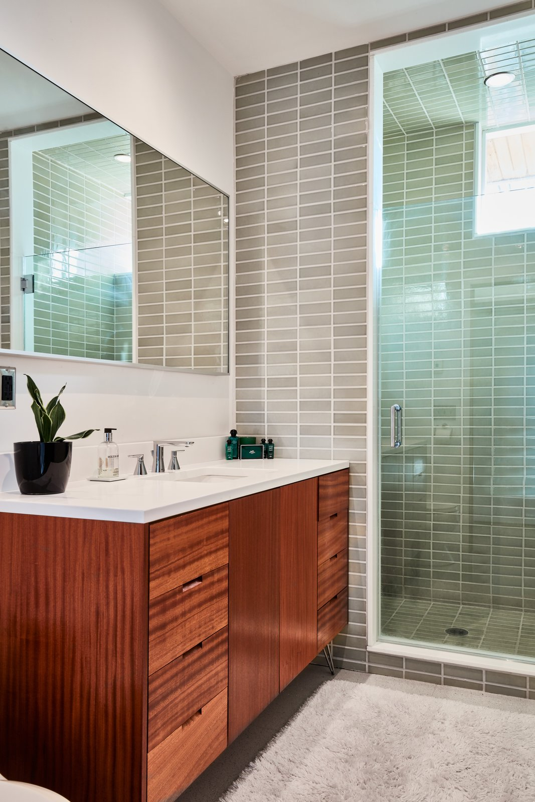 Tagged: Bath Room, Undermount Sink, and Enclosed Shower.  Photo 12 of 13 in The Stunningly Restored Hassrick Residence by Richard Neutra Hits the Market at $2.2M