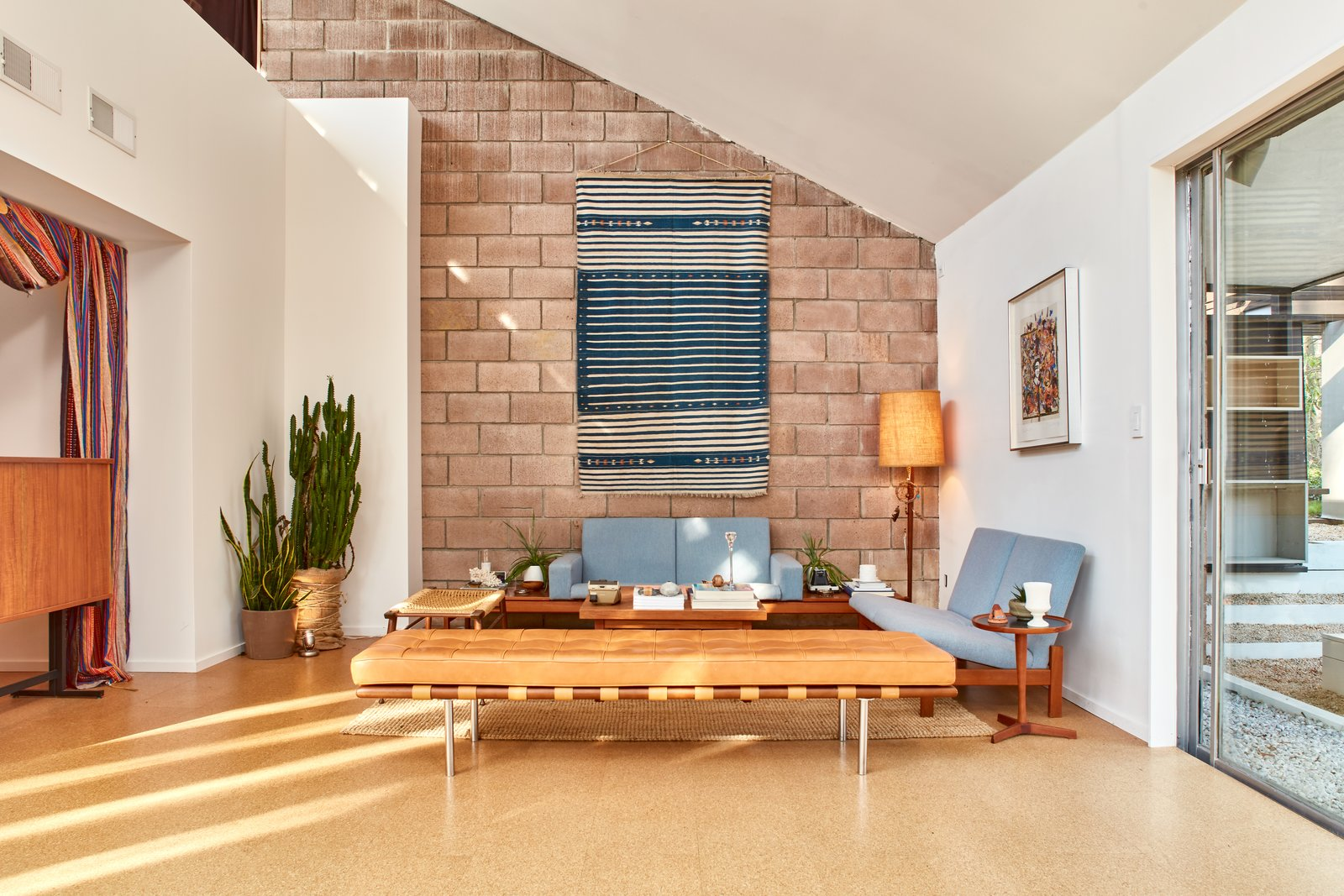 Tagged: Living Room, Bench, Sofa, and Floor Lighting.  Photo 4 of 13 in The Stunningly Restored Hassrick Residence by Richard Neutra Hits the Market at $2.2M