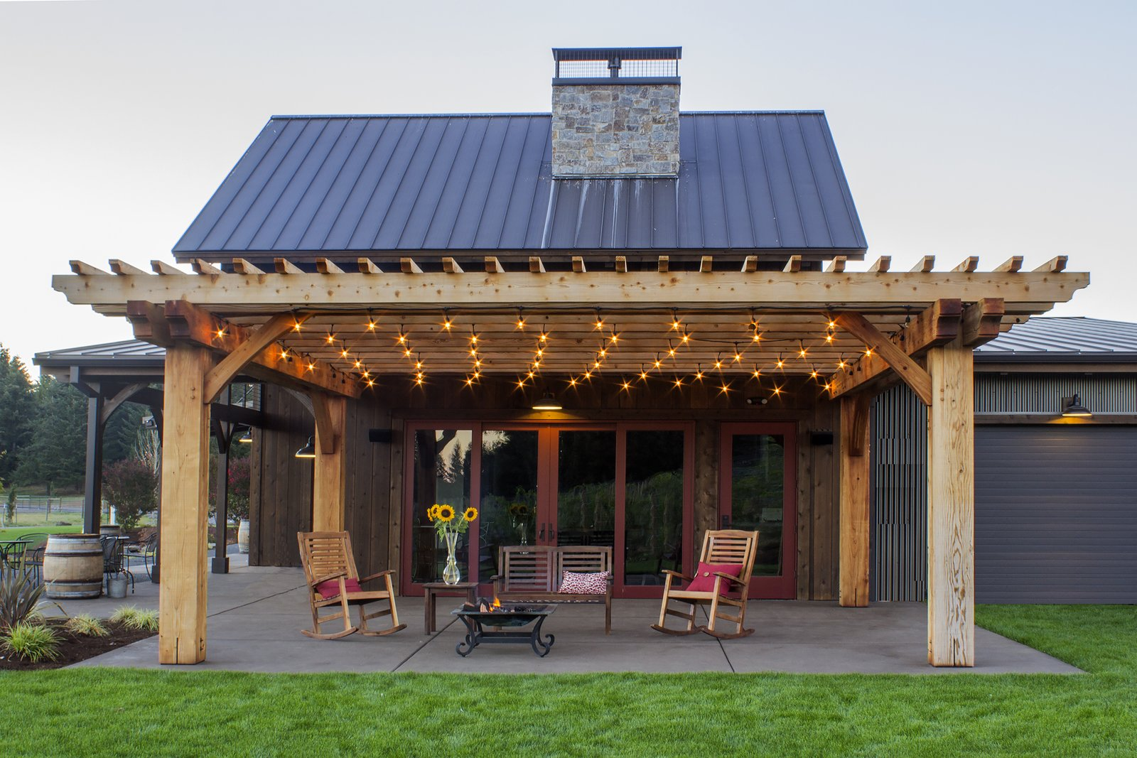 Naturally durable, redwood can be left to naturally weather. In rainy climates, the material will darken before turning a soft, driftwood gray.