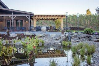Sustainable Redwood Stars in an Oregon Architectural Showcase - Photo 3 of 6 - Landscaped ponds create a charming outdoor setting.