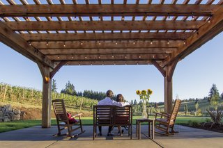 Sustainable Redwood Stars in an Oregon Architectural Showcase - Photo 1 of 6 - The Barrel House tasting room serves as a community center for Tumwater. The new pergola creates an outdoor room that can play host to wine tastings and private events.