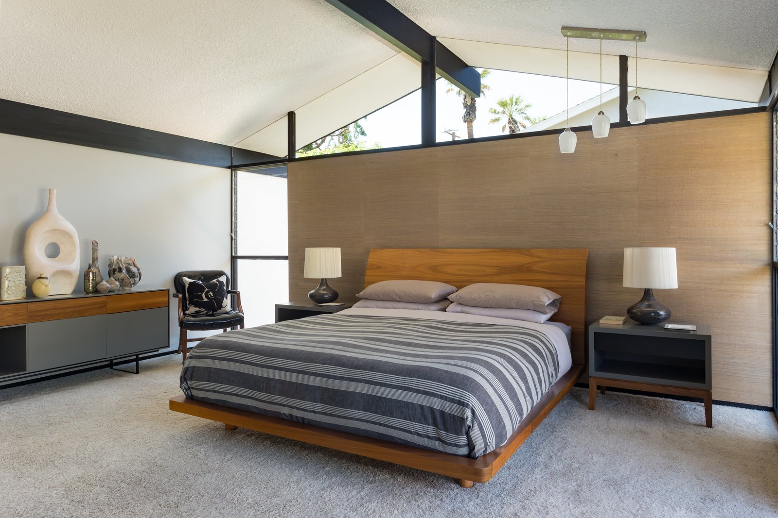 Tagged: Bedroom, Dresser, Night Stands, Chair, Bed, Table Lighting, and Pendant Lighting.  Photo 8 of 14 in Offered at $899K, a Restored Midcentury Abode Shines in Southern California