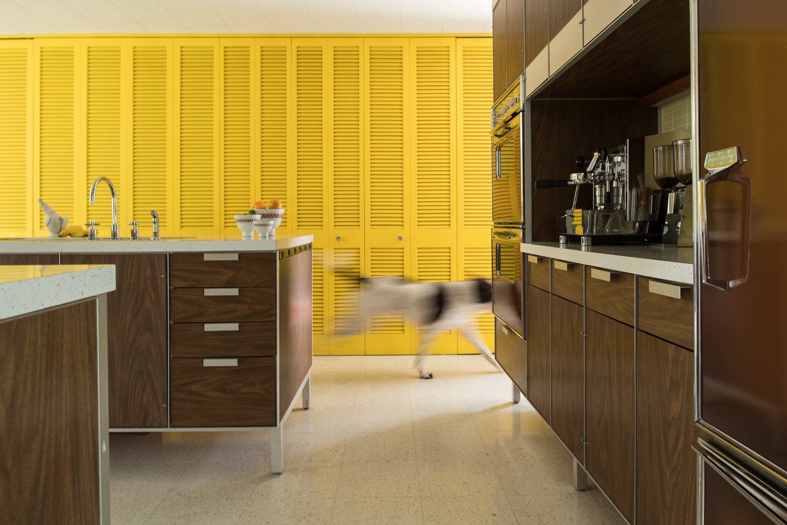 Bright closet doors provide storage space and a healthy dose of color from various vantage points. Tagged: Kitchen and Terrazzo Floor.  Photo 7 of 14 in A Rare Midcentury Prefab Looks Just Like it Did in 1958—Down to the Knoll and Paul McCobb Interiors