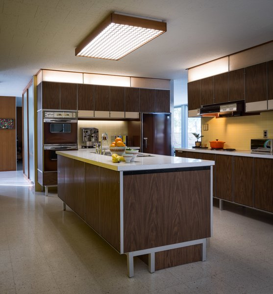 Modern home with kitchen, wall oven, refrigerator, and terrazzo floor. Paul McCobb designed the kitchen, built-in units, and vanities as well. Photo 6 of The Frost House