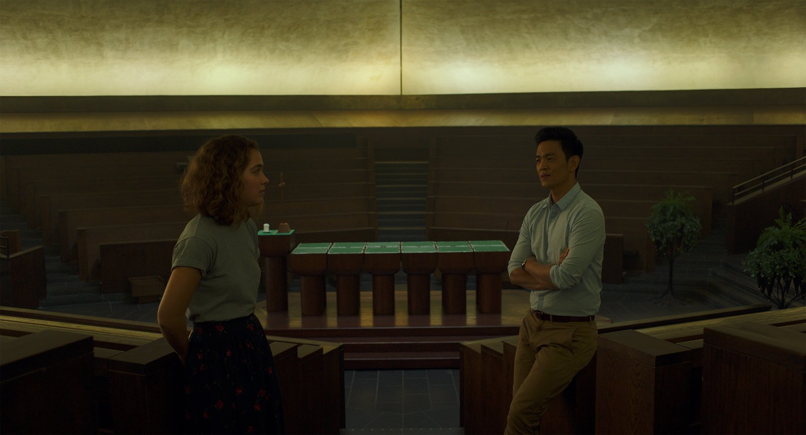 """Jin and Casey discuss the  Photo 8 of 8 in In the Indie Debut """"Columbus,"""" Midcentury Architecture Stars Beside John Cho"""