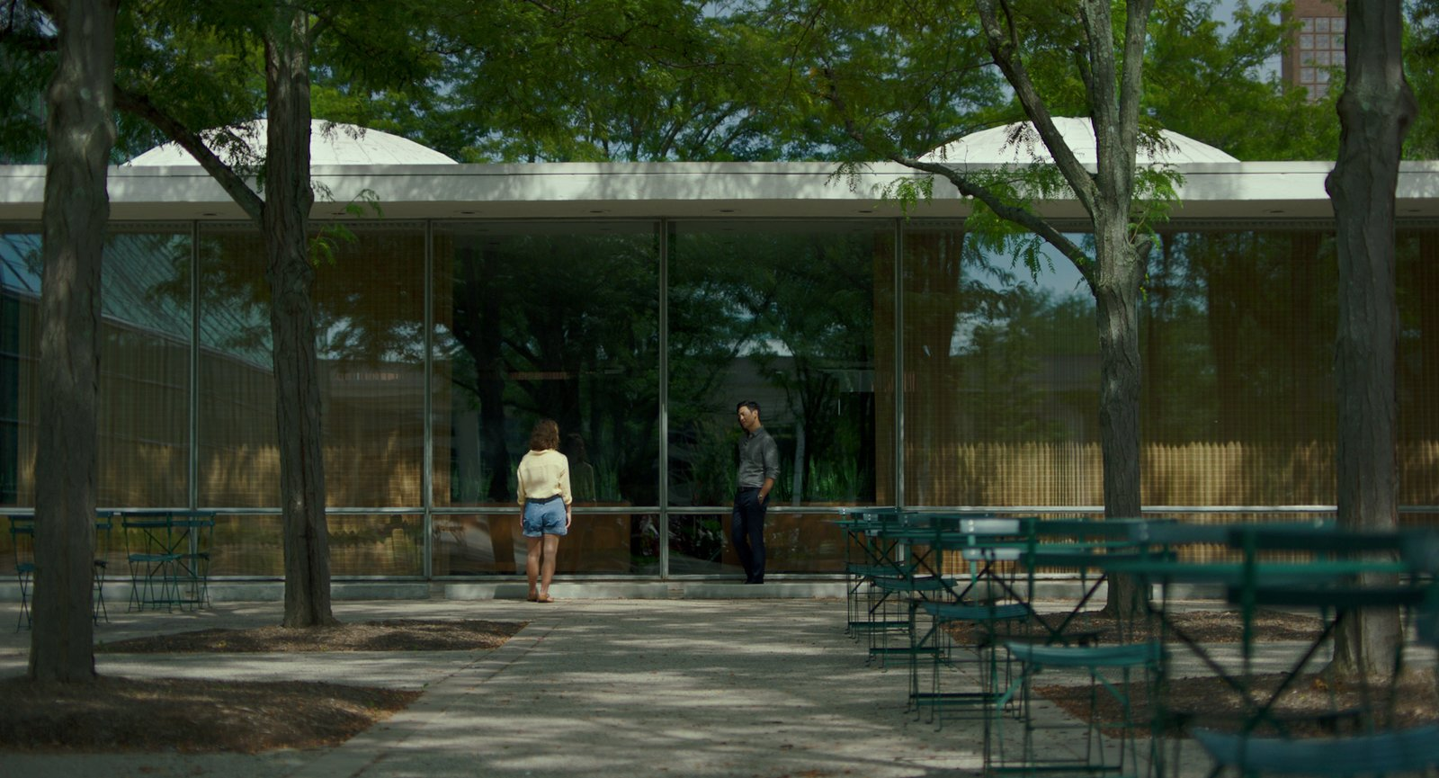 """Casey introduces Jin (John Cho) to one of her favorite buildings, Eero Saarinen's Irwin Conference Center.  Photo 4 of 8 in In the Indie Debut """"Columbus,"""" Midcentury Architecture Stars Beside John Cho"""
