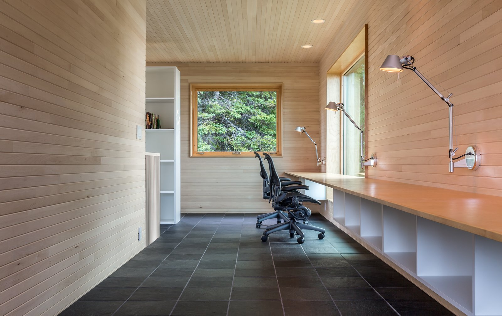 Tagged: Office, Study, Chair, Bookcase, Storage, Desk, Lamps, and Slate.  Best Office Photos from A Lake Superior Escape With a Whitewashed Masonry Sauna
