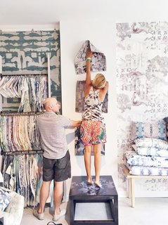 "12 ""Pro-Tips"" For Installing Wallpaper in Your Home - Photo 4 of 13 - At the helm of the Brooklyn-based furnishings brand is Shanan Campanaro, whose dreamy watercolor-like designs feature soothing repetitive patterns that are nothing short of hypnotic. She just recently moved her offices into a new space that the team tackled as a project, giving it the Eskayel stamp and making it look like an inspiring place to work."
