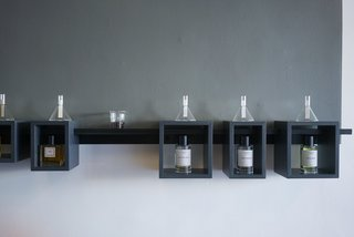 ORRIS Perfumery: The Essence Of Los Angeles Bottled Up - Photo 5 of 20 - Glass funnels housing test strips lets you smell the essence of the fragrances after it dries