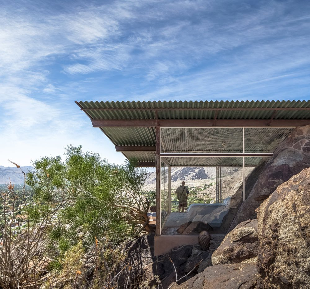 The Frey House II was built in 1964 by architect Albert Frey with mostly glass walls that frame the surrounding rocky landscape. The house even incorporates the massive rocks inside where many would have excavated the material or chosen not to have built there.  Photo 4 of 8 in 8 Iconic Houses in Palm Springs, California