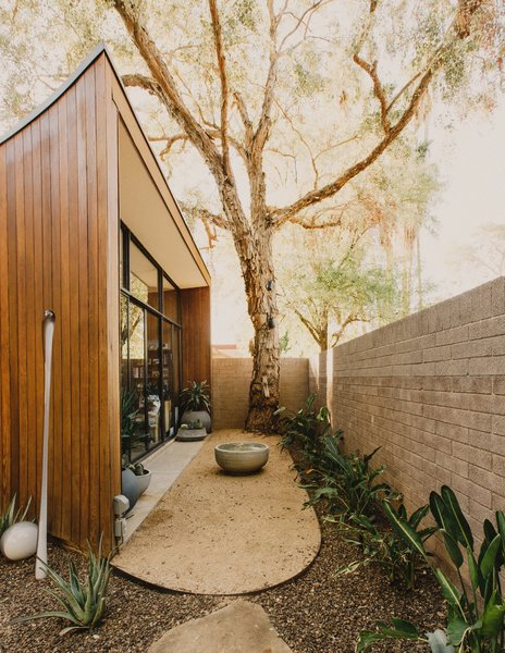 Modern home with outdoor, desert, shrubs, side yard, decomposed granite patio, porch, deck, raised planters, and stone patio, porch, deck. Office courtyard Photo 14 of Curves House