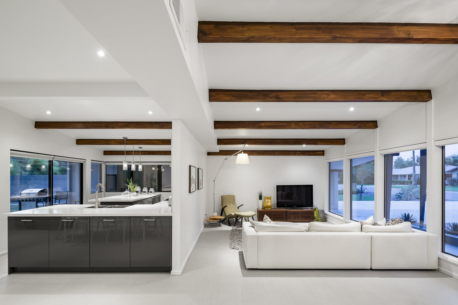 A focus of the renovation was to accentuate the original beams of the mid-century home