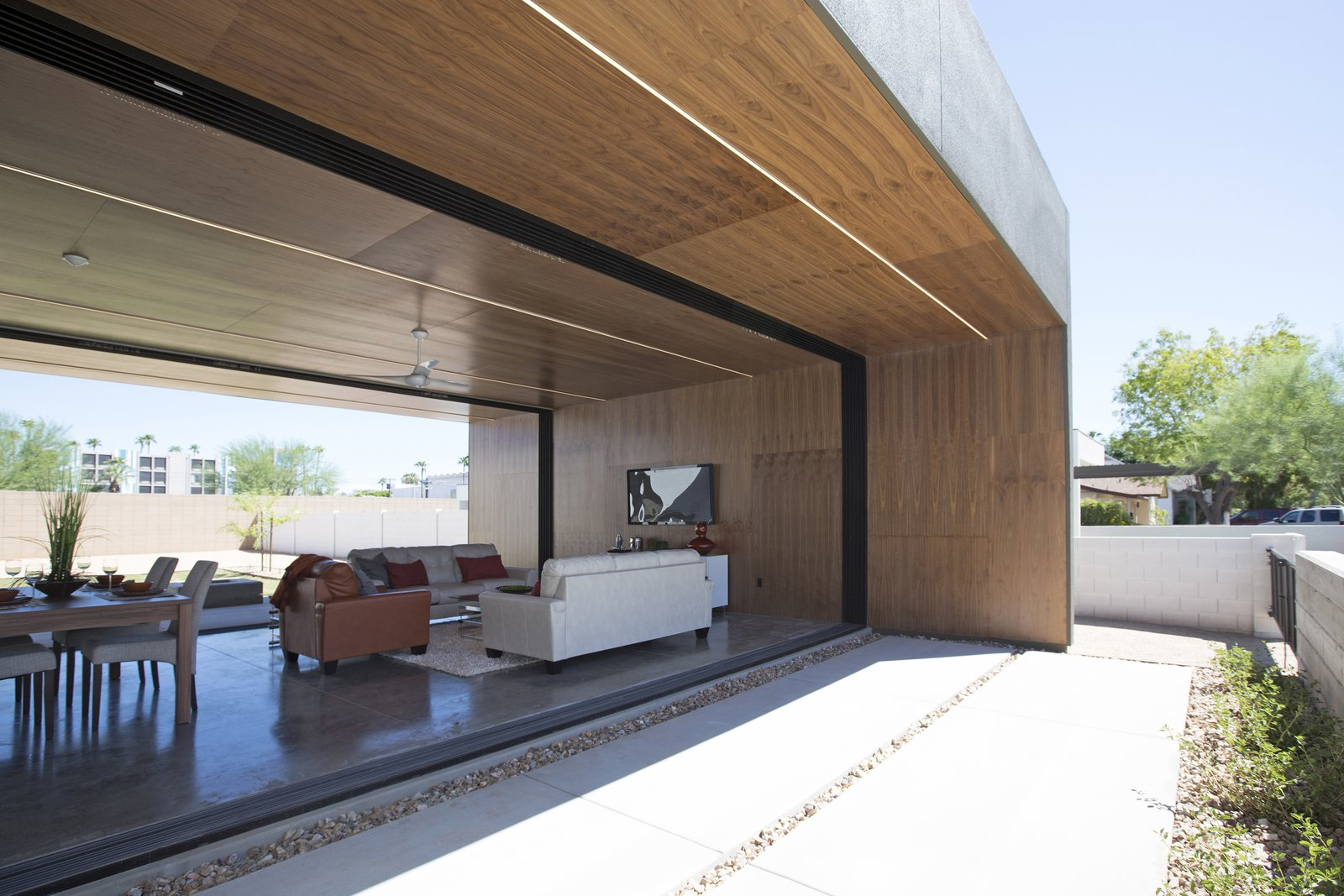 #modern #minimal #indooroutdoor #phoenix #arizona Tagged: Concrete, Ceiling, Trees, Concrete, Grass, Back Yard, and Living.  Best Living Concrete Photos from Glass Walls • Windows • Sliding Walls